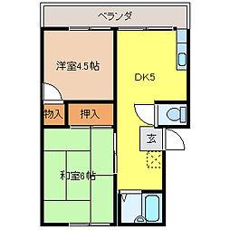 埼玉県幸手市東3丁目の賃貸アパートの間取り