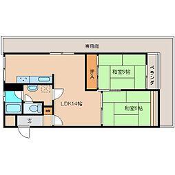 奈良県奈良市百楽園の賃貸マンションの間取り