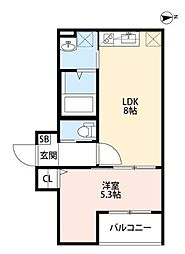 兵庫県西宮市石在町の賃貸アパートの間取り