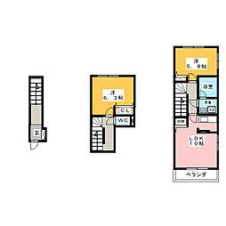 静岡県焼津市東小川2丁目の賃貸アパートの間取り