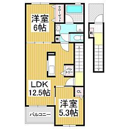 JR飯田線 伊那福岡駅 徒歩4分の賃貸アパート 2階2LDKの間取り
