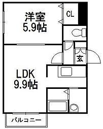 コーポげんじ菊水[3階]の間取り