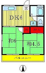 東京都足立区辰沼2丁目の賃貸アパートの間取り