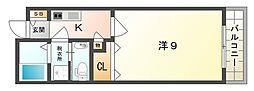 京阪本線 土居駅 徒歩6分の賃貸マンション 5階1Kの間取り