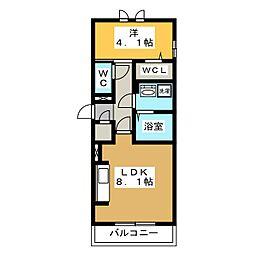 D-roomビーチルック 1階1LDKの間取り