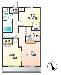 茨城県牛久市ひたち野東3丁目の賃貸アパートの間取り