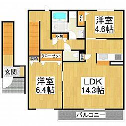 大阪府堺市東区菩提町5丁の賃貸アパートの間取り