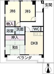 第2グレイスフル吉田 A棟[3階]の間取り