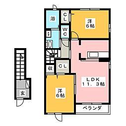 ベルA 2階2LDKの間取り