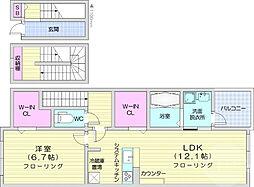 JR仙石線 多賀城駅 徒歩19分の賃貸アパート 3階1LDKの間取り