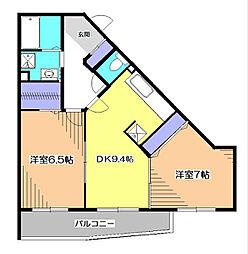東京都小平市上水南町3丁目の賃貸マンションの間取り