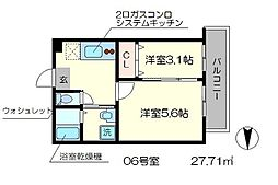 nico西京極 2階2Kの間取り