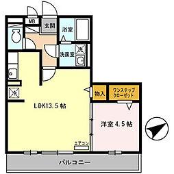 セジュール東浜尻[201号室]の間取り