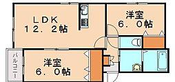 プレステージ穂波東[2階]の間取り