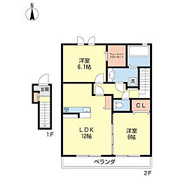 Casa OkuraII[2階]の間取り