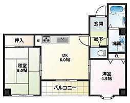 大阪府大阪市平野区平野東2丁目の賃貸マンションの間取り