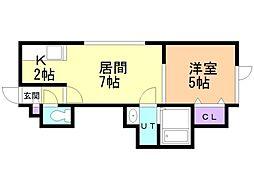 ウィステリア菊水元町 1階1LDKの間取り