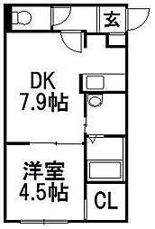 北海道札幌市豊平区中の島一条1の賃貸マンションの間取り