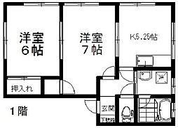 新潟県新潟市東区有楽3丁目の賃貸アパートの間取り