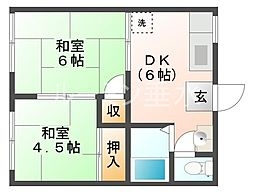 ロイヤルガーデンハイツB棟[2階]の間取り