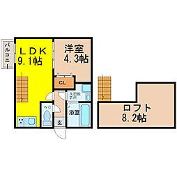 愛知県名古屋市中村区上石川町2丁目の賃貸アパートの間取り