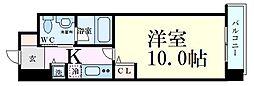 Osaka Metro四つ橋線 肥後橋駅 徒歩3分の賃貸マンション 12階1Kの間取り