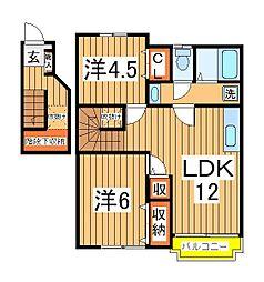 千葉県白井市西白井2の賃貸アパートの間取り