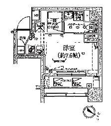 スパシエロッサ横浜吉野町 3階ワンルームの間取り