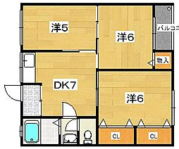 日晴ハイツ[2階]の間取り