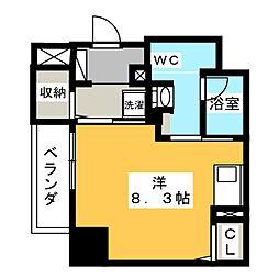 パークアクシス新栄 10階ワンルームの間取り