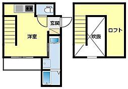 愛知環状鉄道 新豊田駅 徒歩5分の賃貸アパート 2階ワンルームの間取り