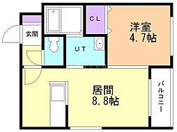 カハラ澄川 3階1DKの間取り