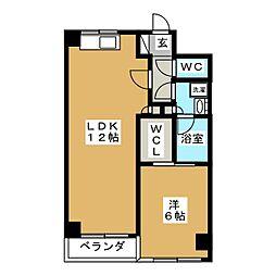 JR山手線 大崎駅 徒歩5分の賃貸マンション 5階1LDKの間取り