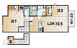 仮)D-room北方H[2階]の間取り