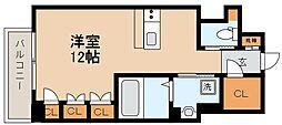 阪神本線 芦屋駅 徒歩9分の賃貸マンション 4階ワンルームの間取り