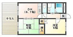 大阪府高槻市別所中の町の賃貸マンションの間取り