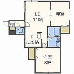 北海道札幌市白石区菊水元町一条5丁目の賃貸アパートの間取り