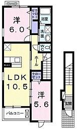 シドレ・サンフォレ 2階2LDKの間取り