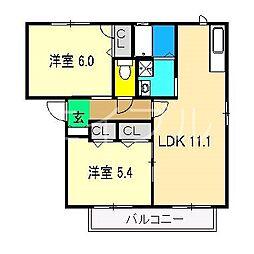 ラ・ベルターナV A棟[2階]の間取り