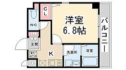リーガルコート山本駅前[201号室]の間取り