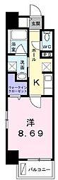 高松琴平電気鉄道長尾線 花園駅 徒歩4分の賃貸マンション 4階1Kの間取り