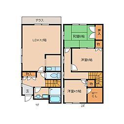 [テラスハウス] 奈良県奈良市朱雀6丁目 の賃貸【奈良県 / 奈良市】の間取り