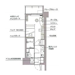 レックスガーデン神楽坂北町 5階1Kの間取り