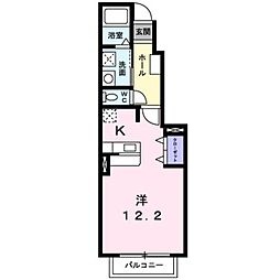 JR豊肥本線 武蔵塚駅 バス12分 神園下車 徒歩25分の賃貸アパート 1階1Kの間取り