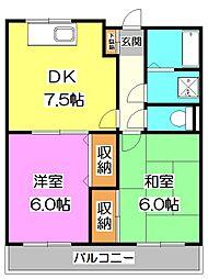 埼玉県新座市大和田5丁目の賃貸マンションの間取り
