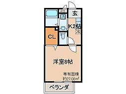 京都府京都市山科区御陵荒巻町の賃貸アパートの間取り