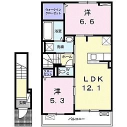長野県小諸市大字御影新田の賃貸アパート 2階2LDKの間取り