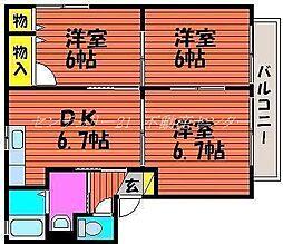 岡山県岡山市南区福田の賃貸アパートの間取り