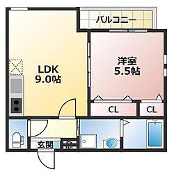 フジパレス井高野5番館 1階1LDKの間取り