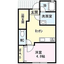 JR鹿児島本線 福間駅 徒歩5分の賃貸アパート 1階1DKの間取り